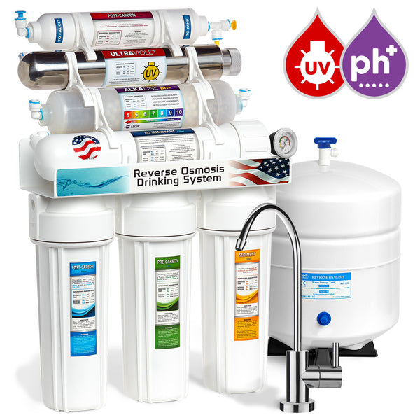 Express Water 11 Stage UV Ultraviolet + Alkaline + Reverse Osmosis Home Drinking Water Filtration System 100 GPD Modern Faucet Pressure Gauge