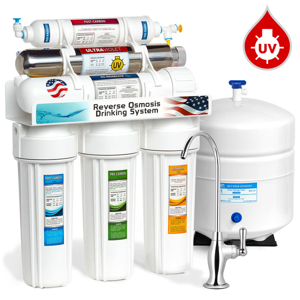 Express Water 6 Stage Uv Ultraviolet Sterilizer Reverse Osmosis Home Drinking Water Filtration System 100gpd Deluxe Faucet Rouv10d