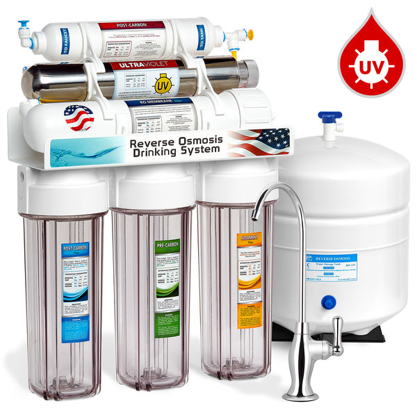 Express Water 6 Stage Uv Ultraviolet Sterilizer Reverse Osmosis Home Drinking Water Filtration System Clear Housing 100gpd Deluxe Faucet
