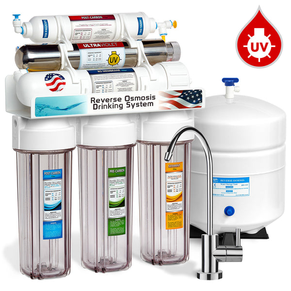 Express Water 6 Stage UV Ultra-violet Sterilizer Reverse Osmosis Home Drinking Water Filtration System Clear Housing 100 Gpd Modern Faucet ROUV10MC