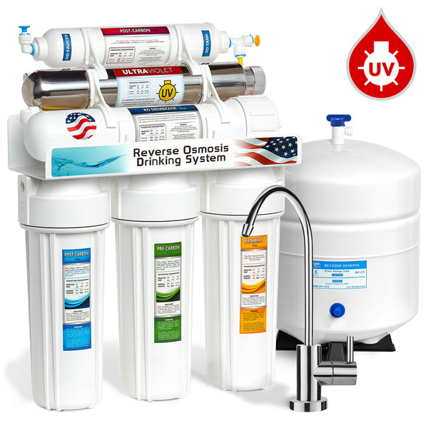Express Water 6 Stage UV Ultraviolet Sterilizer Reverse Osmosis Home Drinking Water Filtration System 100 GPD Modern Faucet ROUV10M