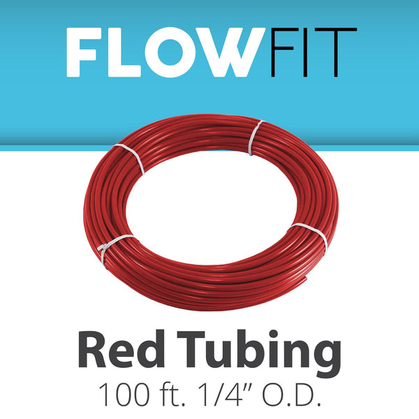 "RED 1/4"" (quarter inch) PE Tubing for RO System 100 feet"