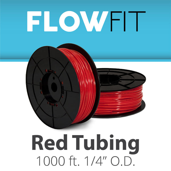 "Red 1/4"" (quarter inch) PE Tubing for RO System 1000 feet"