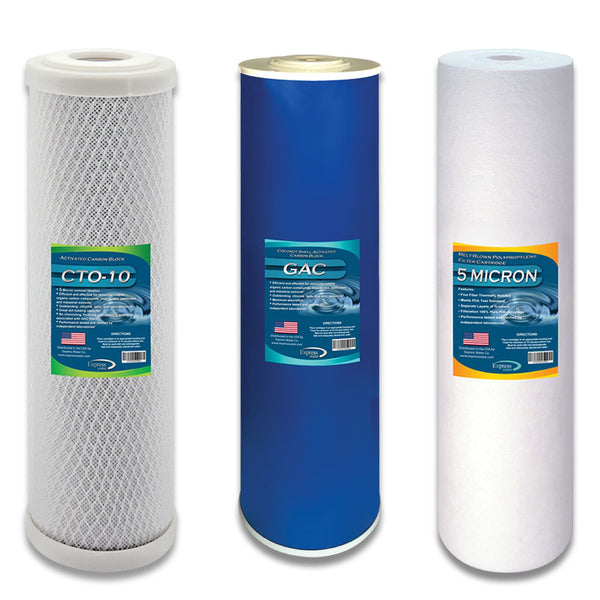 Express Water Whole House Replacement Filter Set Carbon Block Cto Gac Sediment FLTWH2045CGS1