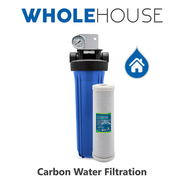 "Whole House Water Filter System 1 Stage Carbon Filtration 4.5"" x 20"" Inch - Express Water Manufacturer of Reverse Osmosis Drinking and UV Water Filter Systems, Parts & Accessories"