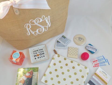 monogram bridesmaid bag, polka dot makeup bag, sugarfina rose all day, love you to the moon and back trinket dish