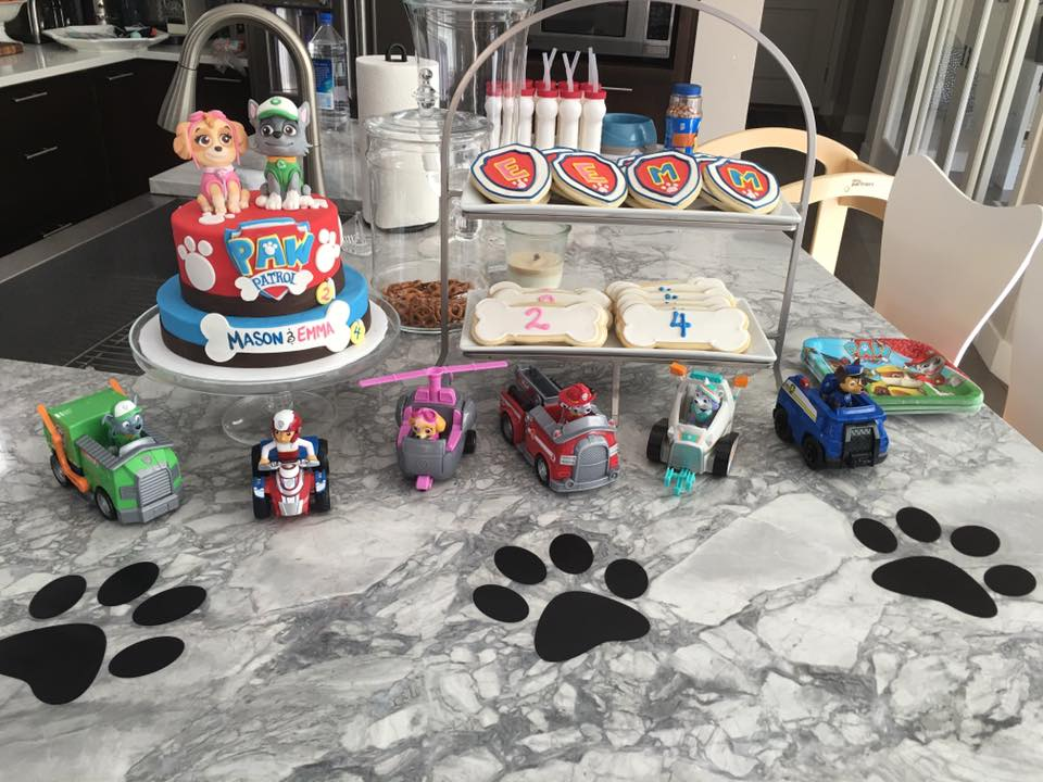 paw patrol cake cookies and decorations