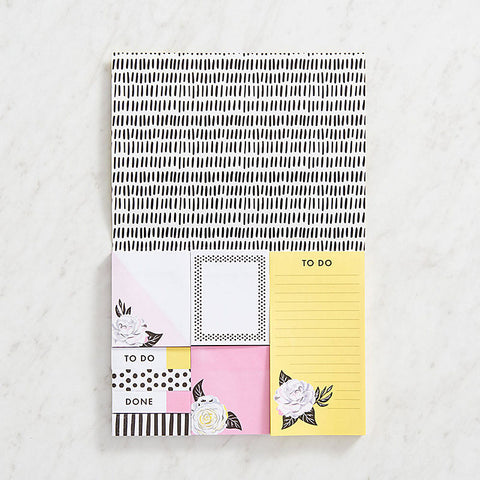 YELLOW FLORAL STICKY NOTE SET