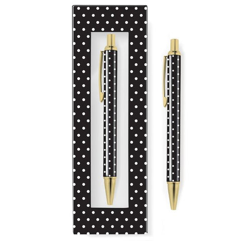 BLACK & WHITE DOT BOXED PEN - Give Lovely