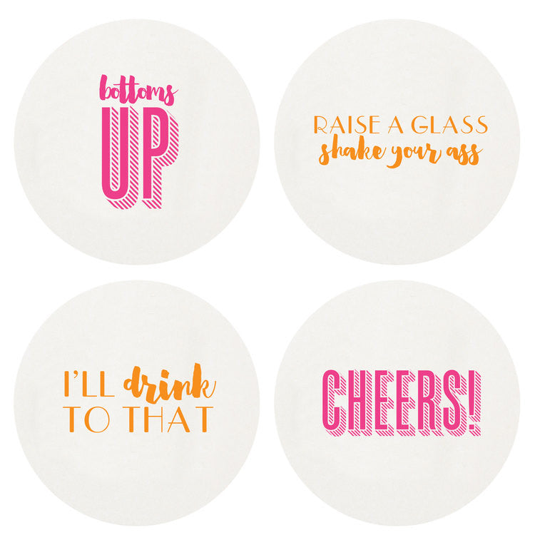 LETTERPRESSED CHEERS COASTERS