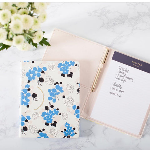 BLUE BOUQUET PADFOLIO + PEN - Give Lovely