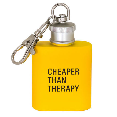 CHEAPER THAN THERAPY FLASK KEYCHAIN