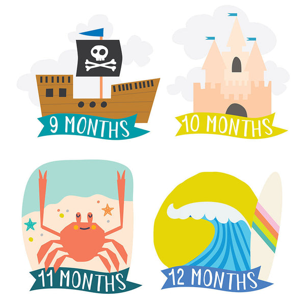 LITTLE SEA CAPTAIN MONTHLY BABY STICKERS
