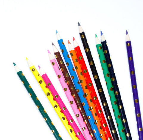 GOLD FOIL DOTS COLORED PENCIL SET
