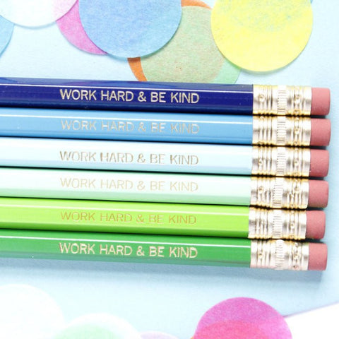 WORK HARD & BE KIND PENCIL SET - BLUE