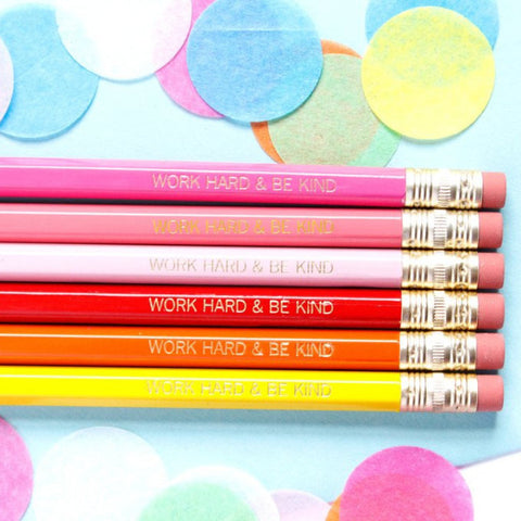 WORK HARD & BE KIND PENCIL SET - PINK