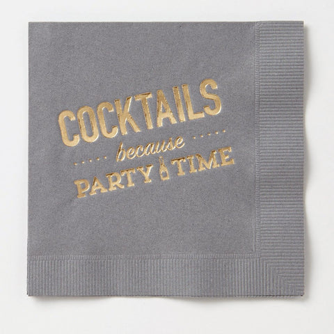 COCKTAILS BECAUSE PARTY TIME NAPKINS - Give Lovely