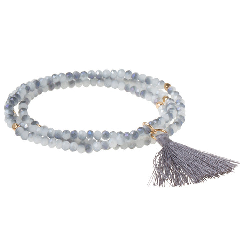 TASSEL WRAP - CLOUD/GRAY