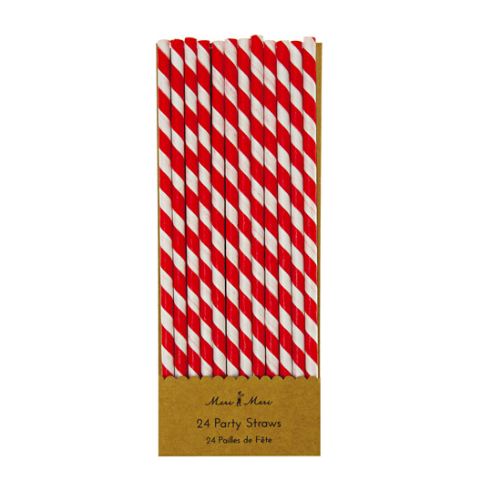 RED & WHITE PARTY STRAWS