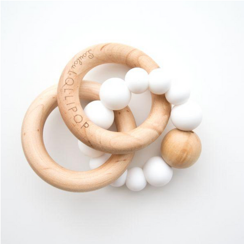 BUBBLE SILICONE AND WOOD TEETHER - WHITE - Give Lovely