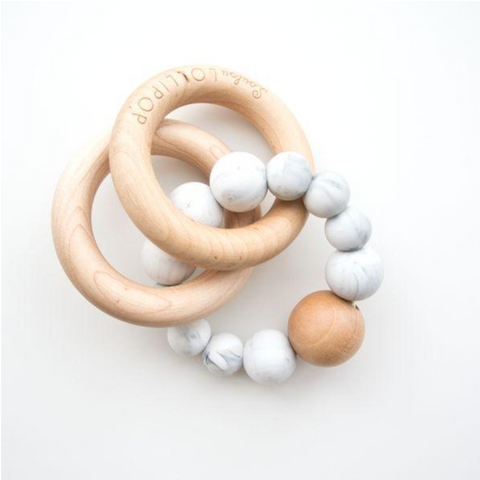 BUBBLE SILICONE AND WOOD TEETHER - MARBLE - Give Lovely