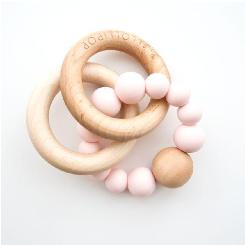 BUBBLE SILICONE AND WOOD TEETHER - ROSE QUARTZ
