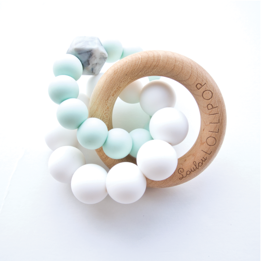 TRINITY SILICONE AND WOOD TEETHER - MINT