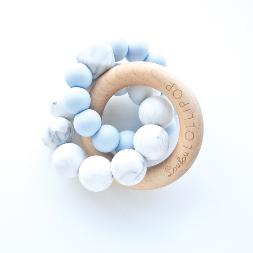 TRINITY SILICONE AND WOOD TEETHER - BABY BLUE