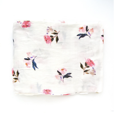 PINK PEONY LUXE MUSLIN SWADDLE