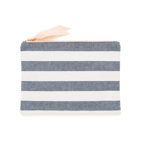 CHAMBRAY STRIPE POUCH - Give Lovely