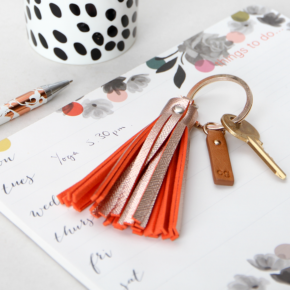 ROSE GOLD TASSLE KEYRING