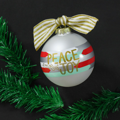 PEACE LOVE AND JOY GLASS ORNAMENT