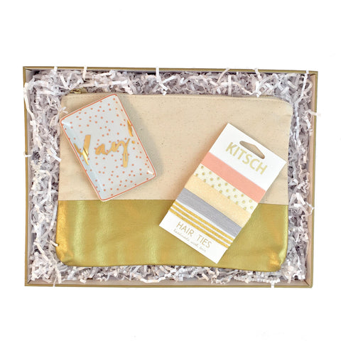 Cute yay gift for her.  Gold makeup pouch, yay tray, and cute hair ties.  Perfect gift for bridesmaids, birthdays and friends.