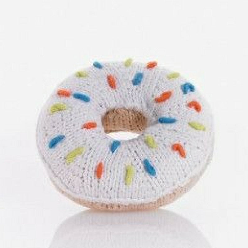 WHITE SPRINKLE DONUT RATTLE