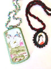Bead embroidered Japanese pendants