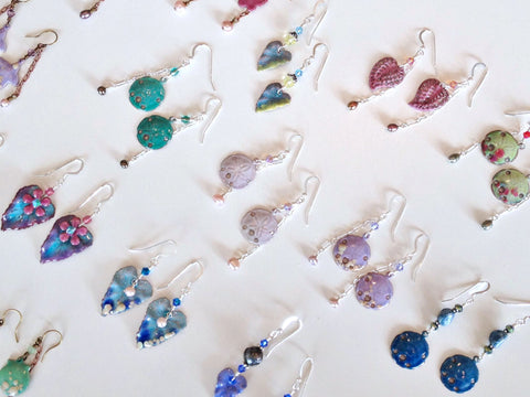 torch fired enamel earring sets