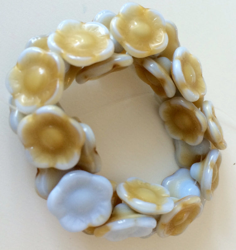Flower button beads - Amber Blue
