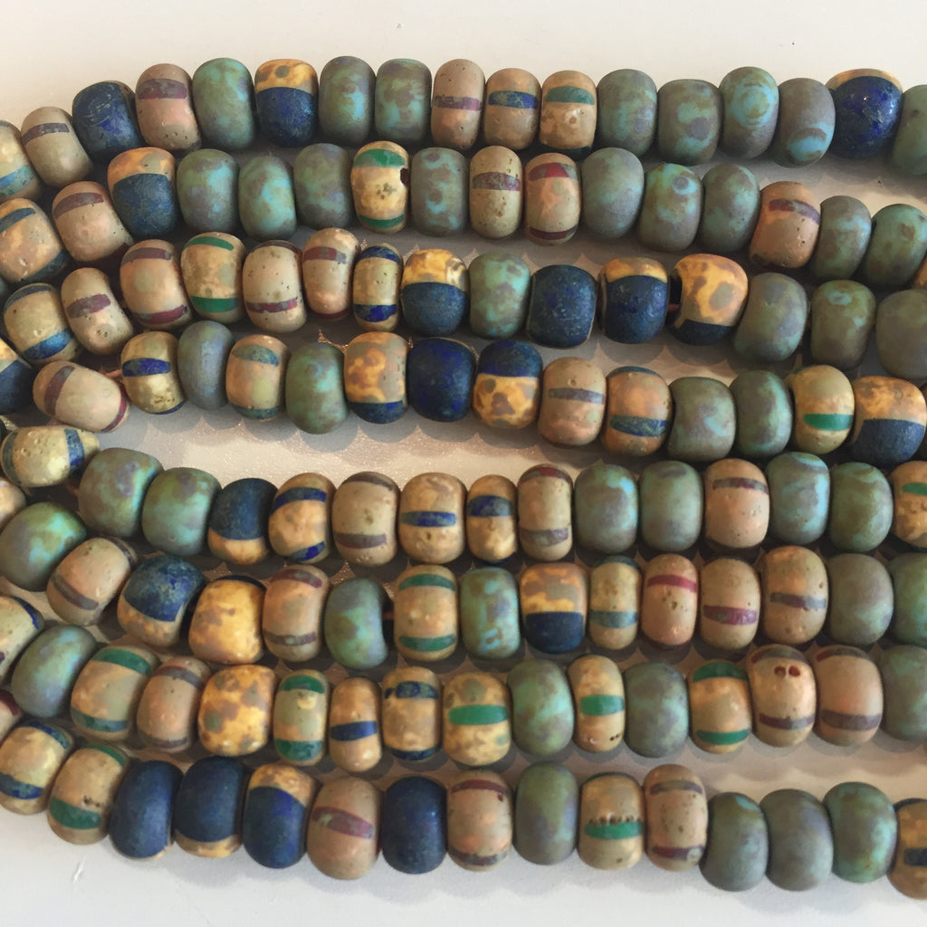aged blue striped turquoise matte picasso seed bead mix