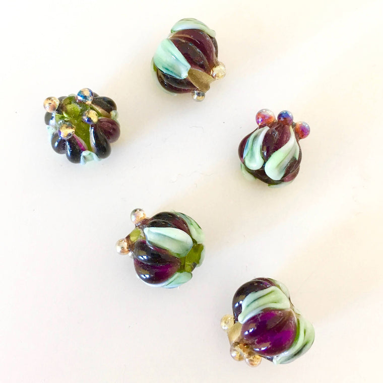 Flower Blossom Lampwork Glass Beads - Amethyst