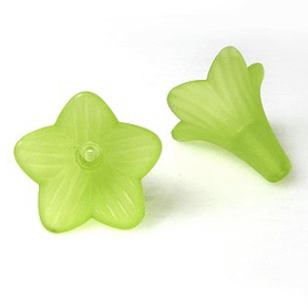 apple green lucite tiger lily beads