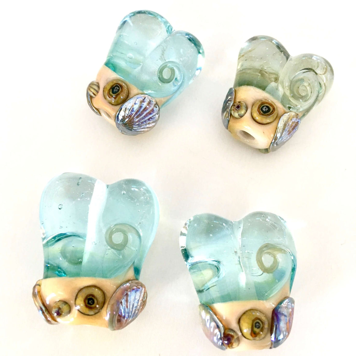 Beach Heart Lampwork Glass Beads