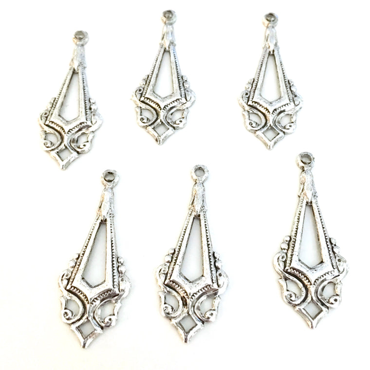 antique silver classic deco chandelier charms