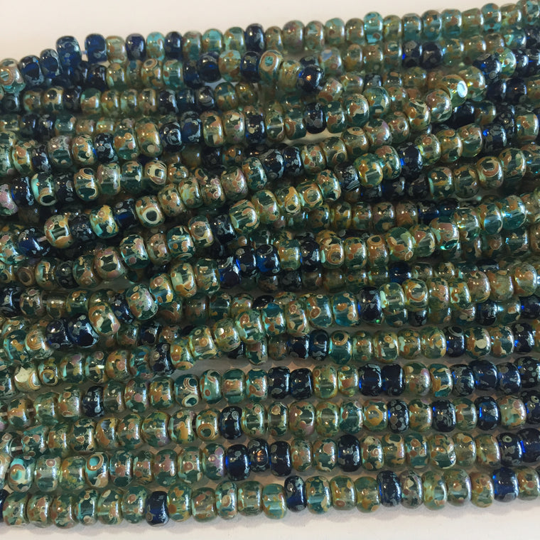 3-cut aqua heavy picasso seed bead mix