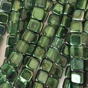 CzechMates tile beads – Mirror Fern Green