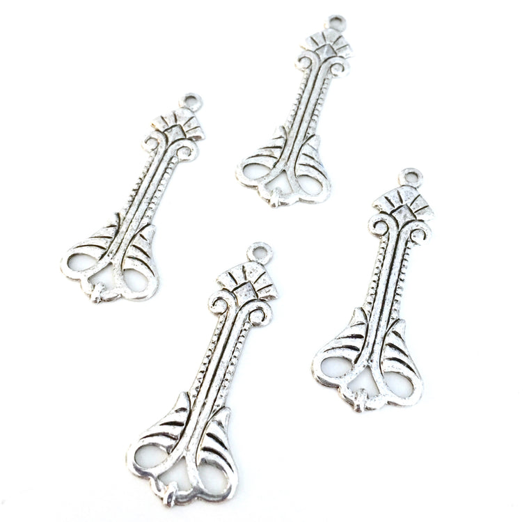 antique silver deco flourish drop charms