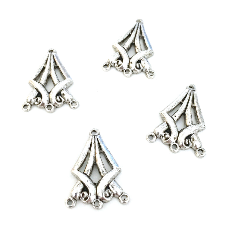 antique silver diamond triple chandelier charms