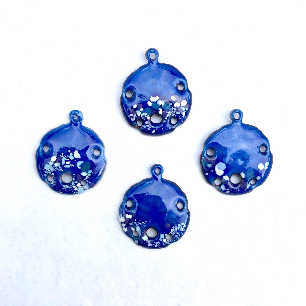 Small Sand Dollar Torch Fired Enamel Charm - Electric Blue with Speckles