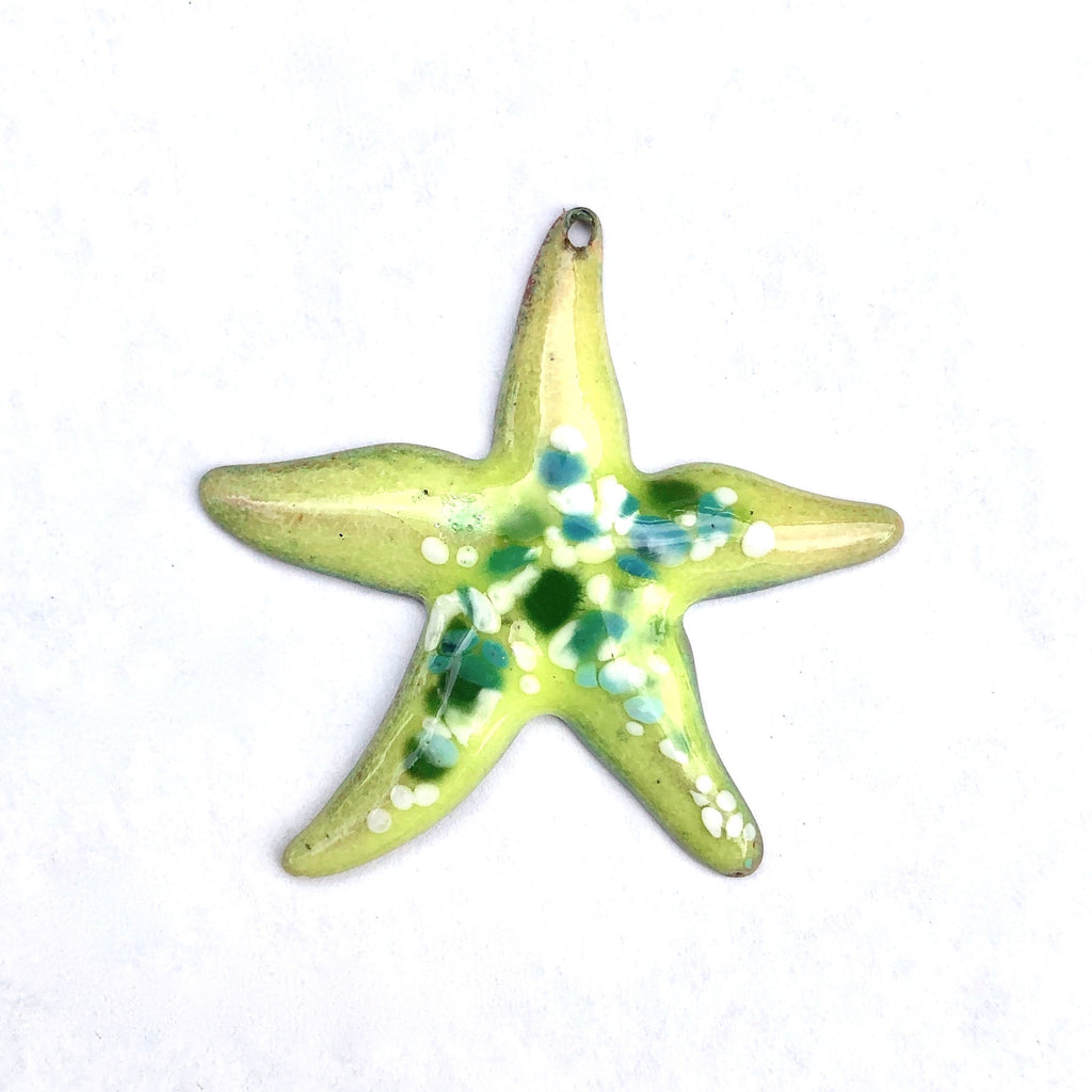 Large Starfish Torch Fired Enamel - Lime with Green Speckles