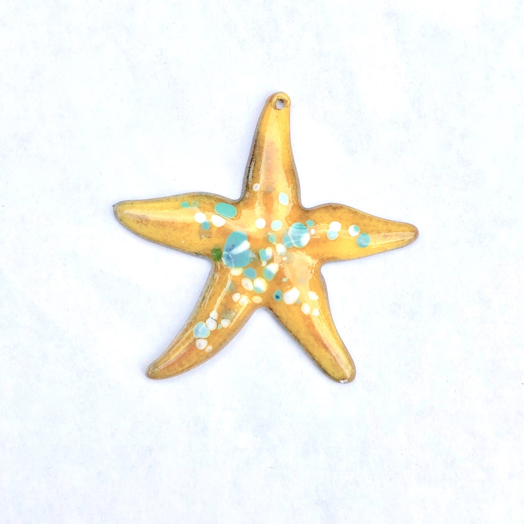 Large Starfish Torch Fired Enamel Pendant -  Yellow with Turquoise Speckles