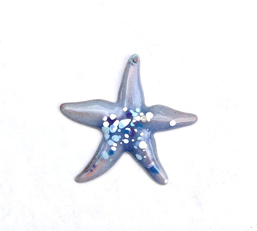 Large Starfish Torch Fired Enamal Pendant - Lavender with Blue Speckles